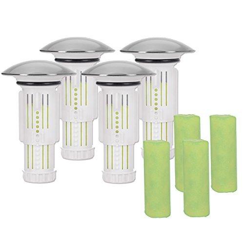 Abfluss-Fee Verschlussstopfen 4er-Set mit 8 Duftsteinen - Die Abflussinnovation im Sanitärmarkt ( Vorteils und Geschenke Set )