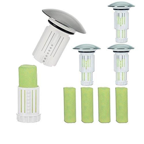 Abflussfee Waschbeckenstöpsel inkl. 4 Verschlussstopfen und 8 Reinigungssteinen | Reinigungssteine für Abflüsse jeder Art, Abflussreiniger | inkl. Frische Duft [Apfel Aroma, grün]