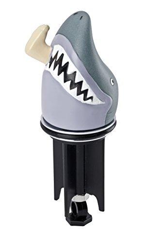 WENKO 21453100 Waschbeckenstöpsel Pluggy® 3D Hai - Abfluss-Stopfen, für alle handelsüblichen Abflüsse, Kunststoff, 4.3 x 11.6 x 4.3 cm, Grau