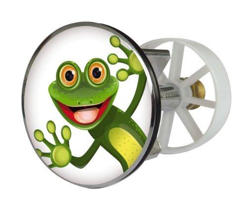 Waschbeckenstöpsel Design Comic Frosch | Abfluss-Stopfen aus Metall | Excenterstopfen | 38 – 40 mm
